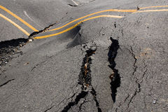 Earthquake - the destruction of the road crack Stock Photo