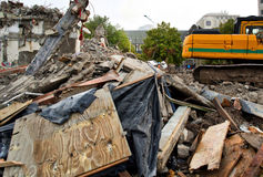 Earthquake devastation in Christchurch. After the devastating earthquakes that flattened much of the inner city, the grey somber tone a wrecked city is all Royalty Free Stock Image