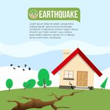 Earthquake Disaster with Ground crevice and House crack vector design Royalty Free Stock Image