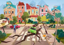 Earthquake Disaster with realistic ground crevices and small destroyed town houses vector illustration design. Earthquake Disaster with realistic ground vector illustration