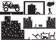 Earthquake. Doodle building earthquake icon set Stock Photography