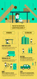 Earthquake escape infographic. how do you servive an earthquake. Royalty Free Stock Photography