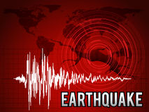 EarthQuake - frequency wave , map world circle wave and crack floor vector red tone art design royalty free illustration