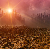 Earthquake. Gloomy landscape with dead city, pollution Royalty Free Stock Photo