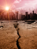 Earthquake. Gloomy landscape with dead city, pollution Stock Image