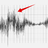 Earthquake on the graph of seismic activity. An earthquake on the graph of seismic activity. Illustration for your design stock illustration