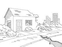 Earthquake graphic black white landscape city sketch illustration vector royalty free illustration