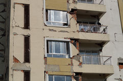 Earthquake hit Apartment. The 7.8-magnitude earthquake that devastated Nepal on Sunday, 25 April 2015 has damaged this apartment building stock photos