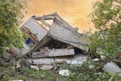 Earthquake  house Stock Images