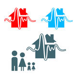Earthquake icon. Earthquake insurance icon with family isolated royalty free illustration