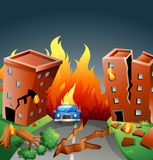 Earthquake with major fire in the city. Illustration Royalty Free Stock Photography