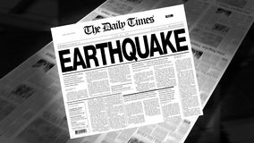 Earthquake - Newspaper Headline (Intro + Loops) stock video