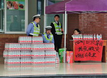 The earthquake relief of enterprises. A magnitude 7 earthquake in China sichuan yaan lushan. Chinas enterprises in the expressway service area, for disaster Royalty Free Stock Photos