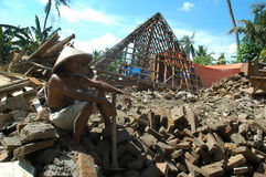 Earthquake. Residents homes destroyed by the earthquake in Jogjakarta, Indonesia royalty free stock images
