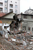 Earthquake. Ruined house after powerful earthquake disaster royalty free stock images