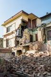 Earthquake ruins of a house. Earthwuake ruins of a house. Collapsed building Kathmandu Royalty Free Stock Images