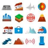 Earthquake shaking icon set vector illustration