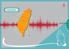 Earthquake in Taiwan concept. Editable Clip Art. Graphical representation of an Earthquake in Taiwan with hands praying for support Royalty Free Stock Photography