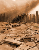 Earthquake. Terrible earthquake destroyed the great city Royalty Free Stock Photo