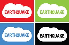 EARTHQUAKE text, on cloud bubble sign. Stock Photography