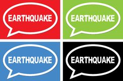 EARTHQUAKE text, on ellipse speech bubble sign. Royalty Free Stock Photo