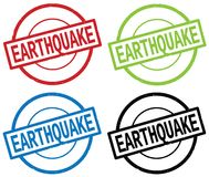 EARTHQUAKE text, on round simple stamp sign. Royalty Free Stock Images