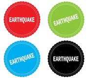 EARTHQUAKE text, on round wavy border stamp badge. Stock Photos