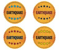 EARTHQUAKE text, on round wavy border vintage, stamp badge. Royalty Free Stock Photos