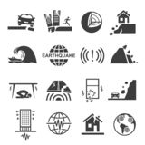Earthquake tsunami disaster and destruction black icon set vector illustration