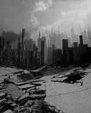 Earthquake. Very gloomy landscape, earthquake, destruction of the city Stock Photo