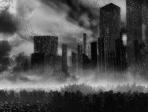 Earthquake. Very gloomy landscape, earthquake, destruction of the city Stock Photography
