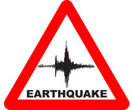 Earthquake Warning Sign Stock Images