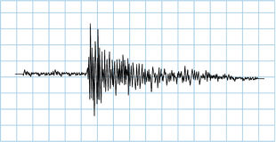 Earthquake wave symbol. In blue grid Stock Photos