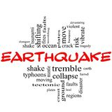 Earthquake Word Cloud Concept in red & black Royalty Free Stock Photo