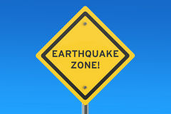 Earthquake Yellow Road Sign Royalty Free Stock Photo