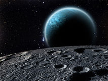 Earthrise über dem Mond Lizenzfreies Stockfoto