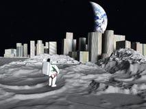 Earthrise lunaire de ville illustration de vecteur
