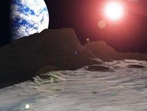 Earthrise sur la lune Image libre de droits