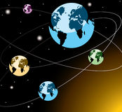Earths on orbits Stock Image