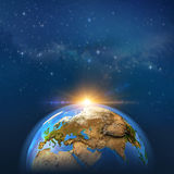 Earthscape in outer space stock illustration
