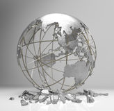 EarthShattered. Metal globe 3d render show the concept of earth crisis , global warming , economic crisis Royalty Free Stock Images
