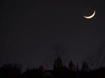 Earthshine van een toenemende moonMoon leeftijd van ` s is 3 8Tokyo, 3 Japan-December, 2016 Stock Fotografie