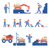 Earthwork and Road Construction Icons Royalty Free Stock Images
