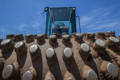 Earthworks Compress Roller Machine Royalty Free Stock Image