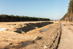 Earthworks for the construction of the  motorway Stock Photography
