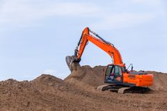Earthworks Construction Operating Excavator Machine stock image