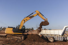 Earthworks Excavator Bucket Earth Stock Photos