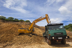 Earthworks Excavator Truck Royalty Free Stock Image
