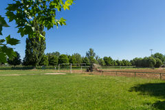 Earthworks of a football field Royalty Free Stock Photo