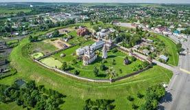 Earthworks of Yuryev-Polsky kremlin, Vladimir oblast, Russia. Aerial view of preserved earthworks of Yuryev-Polsky kremlin from 12th century, Vladimir oblast royalty free stock photos